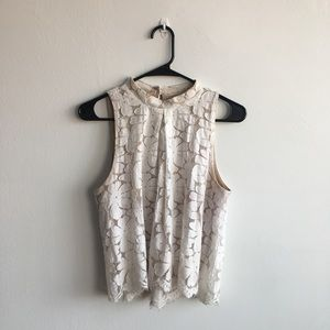 Tops - Cream lace overlay, mock neck, sleeveless blouse